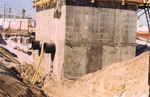 Application prevents ground water penetration to underground structures. David B. Lee WWTP, City of Melbourne, Florida