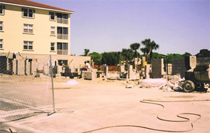 Evaporation retarder and cure/densifier all concrete floors and elevated decks. Ocean Hammock Condominium. Palm Coast, Florida